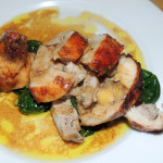 Rabbit leg Tuscan style stuffed with chicken liver and apple