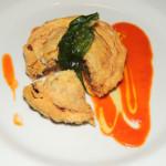 Leek & sausage mini pie with tomato coulis