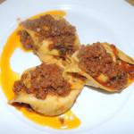 Homemade potato tortelli with chianina meat sauce